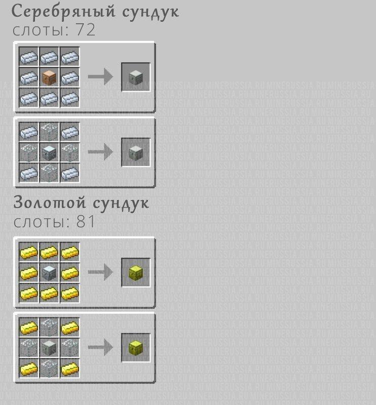Рецепты крафта серебряного и золотого сундуков