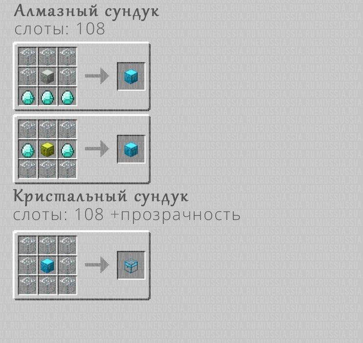 Рецепты крафта алмазного и кристального сундука
