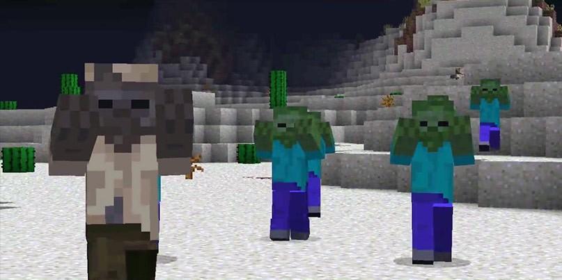 зомби собрались в группу и атакуют