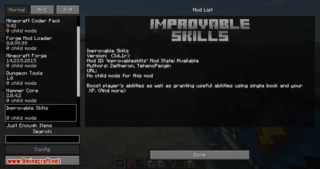 Мод Improvable Skills 3 Для Майнкрафт 1.13.2/1.12.2