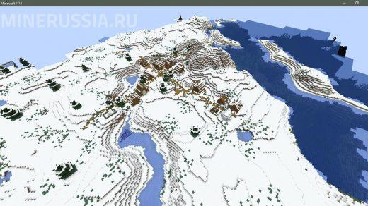 Сид на зимнюю деревню с картографическим столом Майнкрафт 1.14