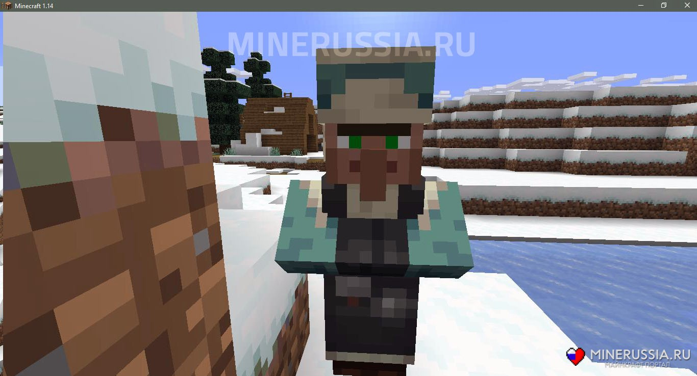 Житель в зимней деревне