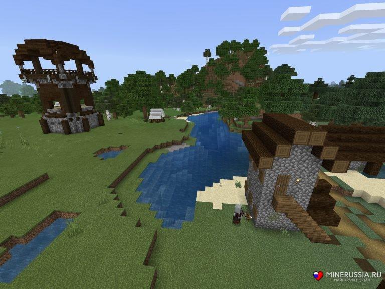 Сид на деревню с жителями и грабителями МайнкрафтPE
