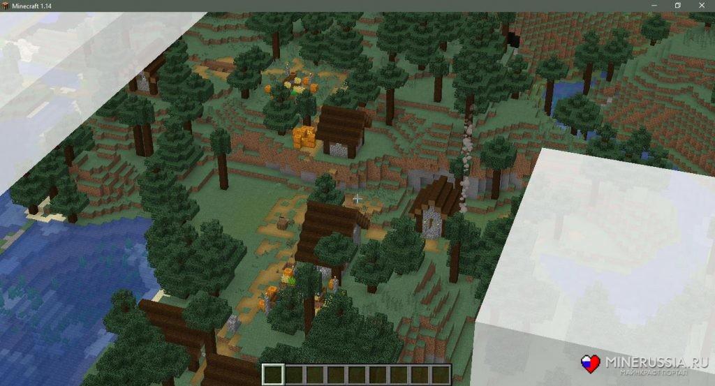 Сид на таёжную деревню в Майнкрафт1.15.1/1.14.4 - скриншот 3