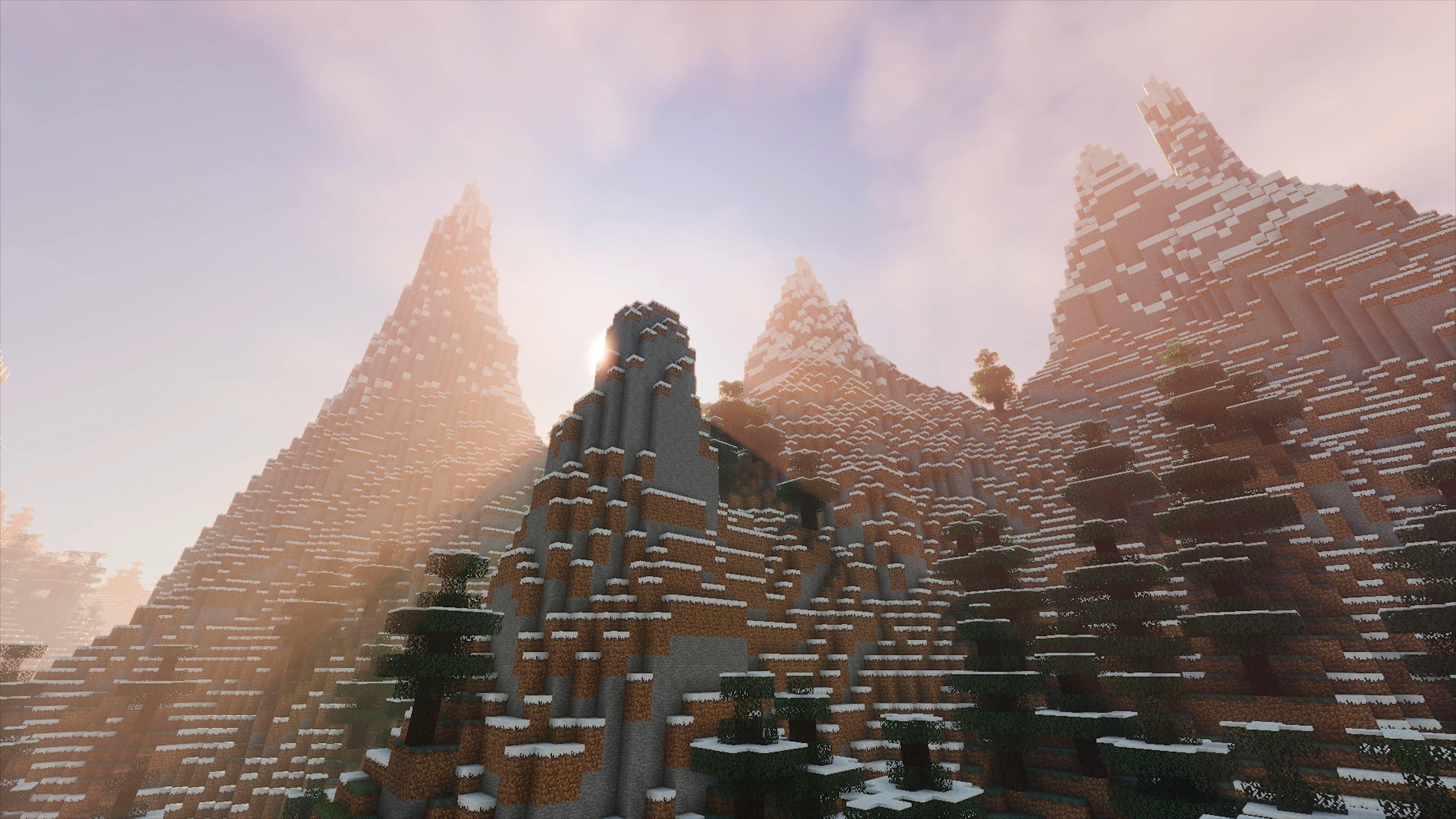 Вид гор и неба с шейдерами в Майнкрафт