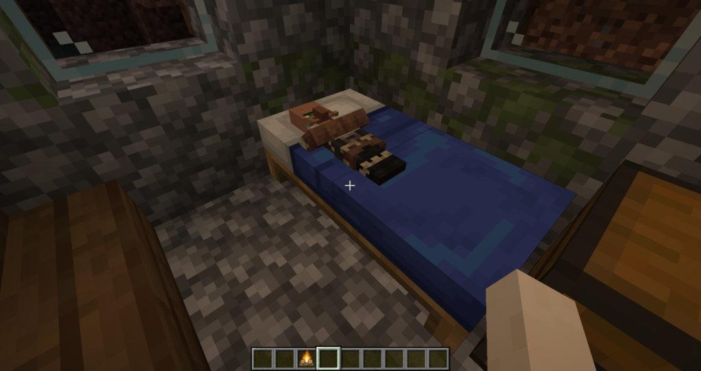Житель спит в кровати - Майнкрафт 1.15